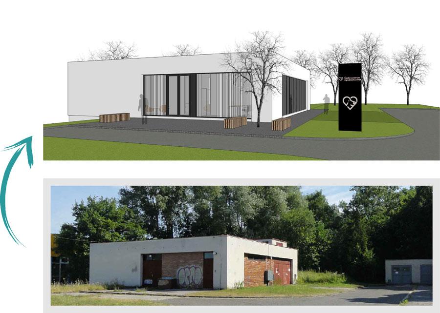 Vizuál nového výcvikového centra - stav před a po